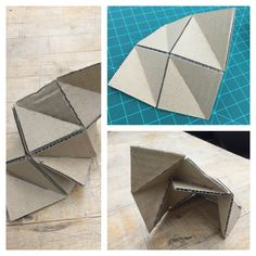 Recreating geometric form from paper into thicker cardboard material, scored on corresponding mountain folds on both side #48105-S15 #gunnc