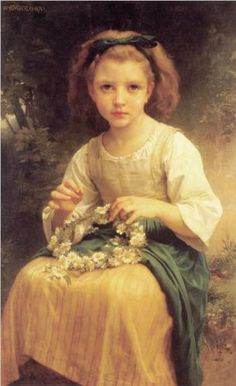 Learn more about Enfant tressant une couronne (Child braiding a crown) William-Adolphe Bouguereau - oil artwork, painted by one of the most celebrated masters in the history of art. William Adolphe Bouguereau, Braids For Kids, Girls Braids, Portraits, Fine Art, Figure Painting, Beautiful Paintings, Romantic Paintings, Art Reproductions