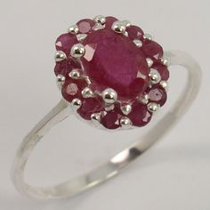 Natural RUBY Gemstone 925 Sterling Silver Engagement Tiny Ring Size US 7.75 NEW #Unbranded