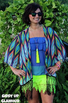 Blazing Fire Lime Green and Royal Blue Aztec Kimono with Fringe www.gugonline.com