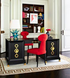 Outfit your office in the Jonathan Adler Turner Executive Desk. Chic Chinoiserie meets Park Avenue Flair.