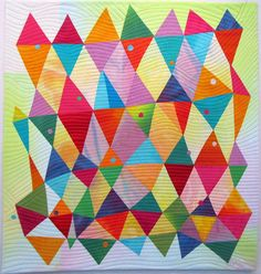 """Dancing Diamonds II - Hand dyed silks and cottons, fused, machine quilted. 26x27""""  by Melody Johnson Quilts"""