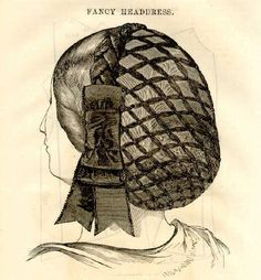 Fancy Headdress - This net is made of chenille, silk, or braid. A plait of velvet is placed round it, and at the side is a velvet bow. Take note my fellow reenactors, this is NOT a heavy rayon or polyester net.