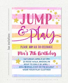 Jump invitation printable or printed with free shipping jump jump birthday invitation rainbow girls 7th birthday invitation jump tumble and play jump party stopboris Gallery