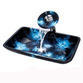 Found it at AllModern - Boulder Opal Rectangular Glass Vessel Sink with Waterfall Faucet