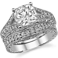 Simple Antique Engagement Rings Round Stone Square Setting 57
