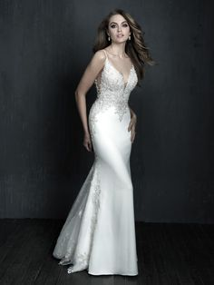 Shop Allure Couture bridal gown here! This bridal gown features a plunging v-neckline, a fully beaded lace bodice, illusion accents, a fit-and-flare silhouette, and a cathedral-length train with scalloped edging. Crepe Wedding Dress, Making A Wedding Dress, Fit And Flare Wedding Dress, Bridal Wedding Dresses, Bridal Style, Bridesmaid Dresses, Wedding Outfits, Allure Bridals, Couture Allure