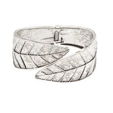Antique Silver Leaf Hinged Cuff Bracelet