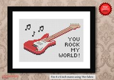 You rock my world - Guitar PDF cross stitch pattern