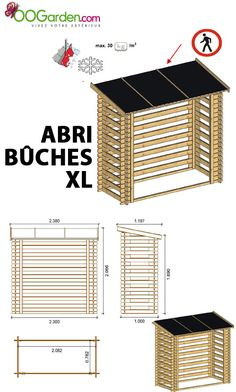 Abri buches 5 stères. Bucher en pin madriers 19 mm - OOGarden.com 250 €