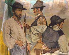 Seán Keating (Irish, Men of the West, Oil on canvas, 97 x 125 cm. Romeo And Juliet Costumes, Irish Costumes, Irish Free State, City Gallery, Dublin City, Western World, Irish Art, Sculpture Art