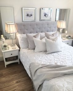 If you need ideas for grey bedroom decoration, this topic is for you. Gray provides a dramatic and elegant effect for bedroom decoration. Master Bedroom Design, Home Decor Bedroom, Oak Bedroom, Bedroom Ideas, New Room, Decoration, Interior Design, Shabby, Bedroom Inspiration