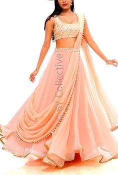 6Y Collective Light Pink Georgette #Lehenga With White Embellished #Blouse.