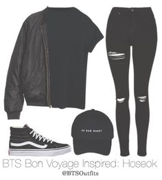 Hiatus — BTS Bon Voyage Inspired (Requested by. Kpop Fashion Outfits, Teen Fashion, Trendy Outfits, Korean Fashion, Girl Outfits, Cute Outfits, Korean Outfits Kpop, Black Outfits, Mode Kpop