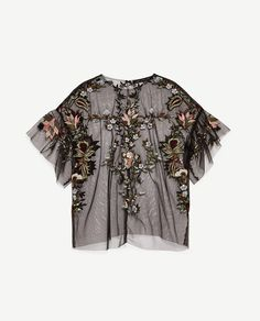 Image 6 of EMBROIDERED TULLE TOP from Zara