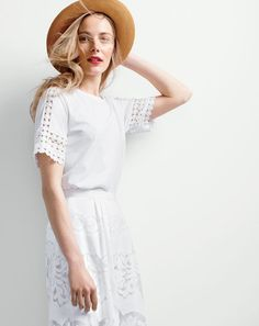 J.Crew women's embroidered top, midi skirt in ornate lace and panama hat.