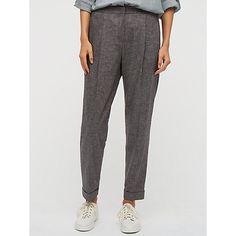 Buy Jigsaw Melange Twill Peg Leg Trousers, Brown Online at johnlewis.com
