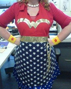 Wonder Woman apron - I like the gold design and what looks like a simple red top (hard to tell with red shirt too). And of course you must have the golden lasso!
