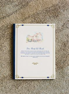 The couple's invitation suite included a weekend itinerary printed with royal blue ink. The stationery featured a watercolor painting of the Beverly Hills venue. #weddinginvitation #weddingstationery Photography: Jose Villa Photography. Read More: http://www.insideweddings.com/weddings/destination-beverly-hills-wedding-with-celebrity-chef-performers/467/