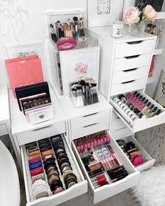 Say NO to messy drawers and table tops ? With over 50 products and bundle packs in store, le Say NO to messy drawers and table tops ? With over 50 products and bundle packs in store, le Makeup Storage Shelves, Makeup Storage Organization, Make Up Storage, Small Space Organization, Bathroom Organization, Organization Ideas, Storage Ideas, Alex Drawer Organization, Makeup Room Decor