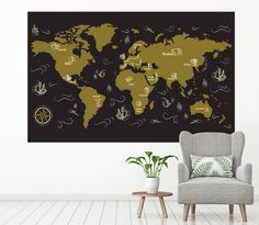 Large world map wall art with countries names canvas printextra large world map wall art with countries names canvas printextra large grey world map home decor world map canvas print ready to hang pinterest walls gumiabroncs