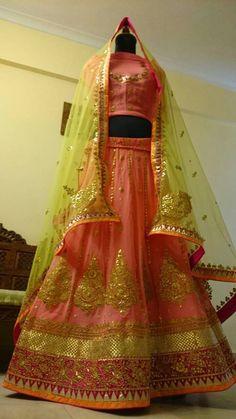 Jaal gota patti Lehenga with Bandhani odhni - colourful and desi! Gota Patti Lehenga, Beautiful Moments, Mehendi, Desi, Saree, Make It Yourself, Bridal, Elegant, Color