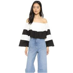 KENDALL + KYLIE Off-Shoulder Ruffle Top ($120) ❤ liked on Polyvore featuring tops, long sleeve tops, off shoulder crop top, off shoulder ruffle top, open back top and open back long sleeve top