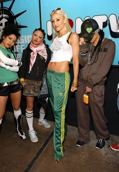 Only-Gwen-could-work-Adidas-track-pants-cropped-graphic-tank
