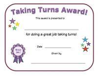taking turns award