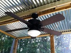 Patio ceiling fans with lights, corrugated metal roof porch corrugated metal ceiling porch . Porch Ceiling, Porch Roof, Metal Ceiling, Outdoor Ceiling Fans, Pergola Metal, Metal Roof, Wooden Pergola, Screened In Porch Diy, Pergola Patio