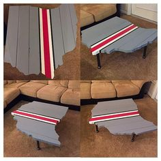 This is a custom made wood Ohio State themed industrial table in the shape of the state of Ohio. The unique legs are designed out of black steel