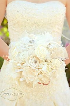 Handmade fabric bridal bouquet with a little bling. Handmade by Lisa Wade