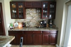 Home Bar Idea - This picture features Jupiter Cherry Java Coffee Glaze Cabinets.