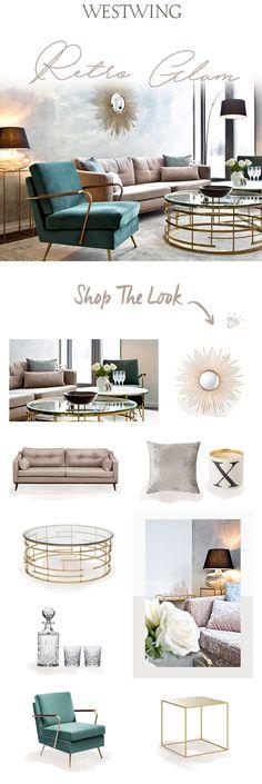 So funktioniert der Look » Retro Glam «: Fifties Charme trifft auf Art déco-Glamour! In diesem Lounge-Look sorgen Möbel im Retro-Design für stilvolles Nostalgie-Feeling, edler Samt sowie goldene Details schaffen elegantes Wohlfühl-Ambiente. Mit den schwarzen Leuchten als Kontrastakzenten kommt Spannung in die Farbwelt aus Grün-Beige, die sich auch in dem absoluten Hingucker-Element wiederfindet: einer Fototapete mit Wolkendruck, auf der ein Sonnenspiegel strahlt!