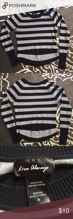 Black and grey stripped sweater Super cute grey and black stripped sweater with zipper detail on left shoulder. Size M - fitted Sweaters