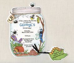 Personalized and Handcut Invitations - Birthday Party Invitations - Bug Jar Birthday Party Invitations - Insect Party -Set of 10 by sarajanestudio on Etsy https://www.etsy.com/listing/180045798/personalized-and-handcut-invitations