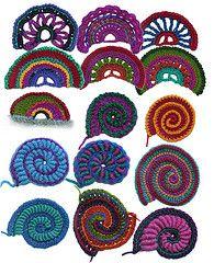 Crochet Scallops, Crochet Spirals Ebook pdf patterns by Renate Kirkpatrick--AWESOME SITE in general!