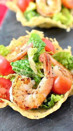 Mini Shrimp Caesar Salad in a Crispy Parmesan Cup