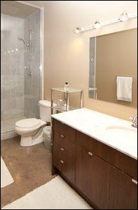 #Quad #Lofts, #Toronto Exposed Concrete, Polished Concrete, Concrete Ceiling, Concrete Floors, Loft Bathroom, Bathrooms, Hunter Douglas Blinds, Juliette Balcony, Floor To Ceiling Windows