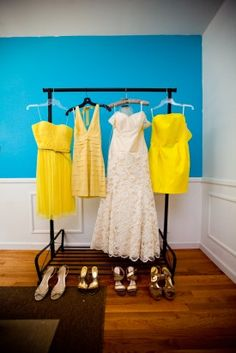 Mismatched bridesmaid dresses, love this look!