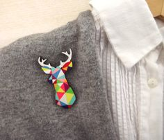 geometric deer brooch neon stag head - by SketchInc, love the nesting dolls also soooo much