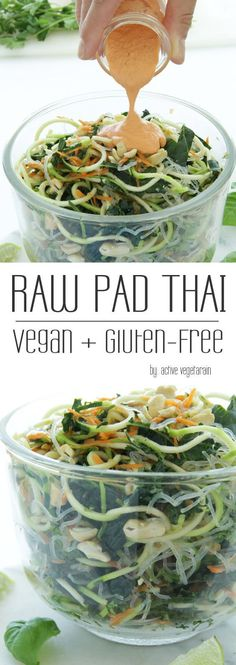 Raw Vegan Pad Thai – Active Vegetarian It's no secret that plant foods are good for you. Study after study supports the benefits of fruits and vegetables in staying healthy and preventing chronic disease. And many people all around the… Raw Vegan Recipes, Vegan Foods, Vegan Dishes, Vegetarian Recipes, Thai Recipes, Vegetarian Salad, Raw Vegan Dinners, Vegan Raw, Vegan Meals