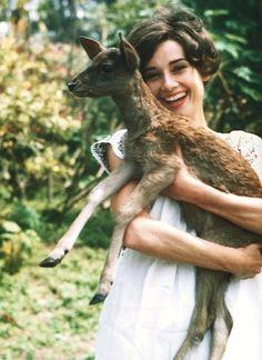 Audrey Hepburn and her pet baby deer named, Pippin. Adorable.