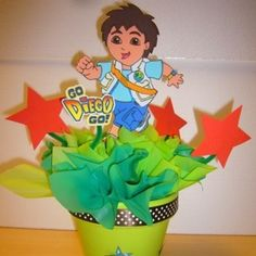 """I would love to make Diego centerpieces for my son's 2nd birthday party which is the """"Go Diego Go"""" theme. I am thinking of using foam cut outs of Diego and sticking them into a foam disk with a wooden dowel, but I am not sure if it needs to be weighted or secured to the table."""