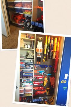 Nerf gun organization for Gavin's collection