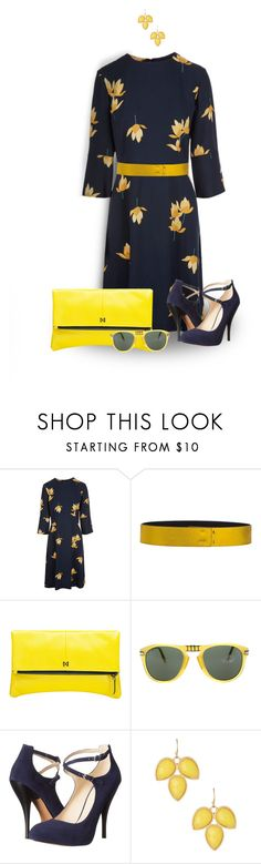 """""""Yellow Bag"""" by loveroses123 ❤ liked on Polyvore featuring Marni, Cédric Charlier, MOFE, Persol, Nine West and Natasha Accessories"""