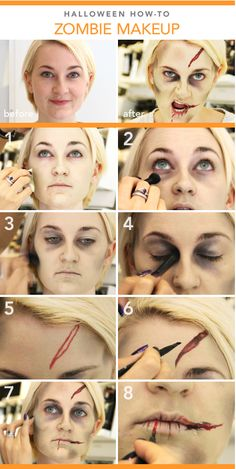Are you looking for ideas for your Halloween make-up? Browse around this site for creepy Halloween makeup looks. Halloween Zombie Makeup Tutorial, Maquillage Halloween Zombie, Maquillaje Halloween Tutorial, Zombie Makeup Tutorials, Creepy Halloween Makeup, Halloween Diy, Diy Zombie Costume, Zombie Face Makeup, Costume Ideas