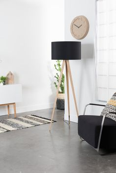 Products Floor lamp Tripod Wood in black by Zuiver Flamingo Royale Is Your Child Ready For Kindergar Tie And Dye Bleu, Wood Floor Lamp, Flat Ideas, Clever Design, Lamp Sets, Farrow Ball, Tripod Lamp, Scandinavian Interior, Wood Veneer