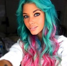 Teal and pink hair