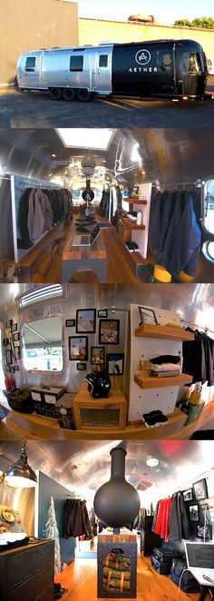 The AETHERstream is an Amazing Pop-Up Apparel Shop Recycled from an Old Airstream Trailer. full of green features including solar panels, reclaimed wood floors, modular shelving. but jewelry, not clothes Airstream Campers, Airstream Remodel, Camper Trailers, Travel Trailers, Mobile Boutique, Mobile Shop, Reclaimed Wood Floors, Camping Car, Family Camping